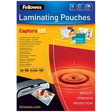 Fellowes Peel And Stick Pouches Adhesive Back, 125 Micron, A3